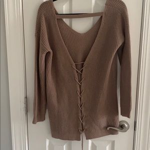 Tan tie up back sweater